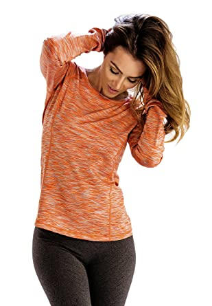 828256424eff7 Image Unavailable. Image not available for. Color: Peach Light Orange Women  Full Sleeve Tee ...