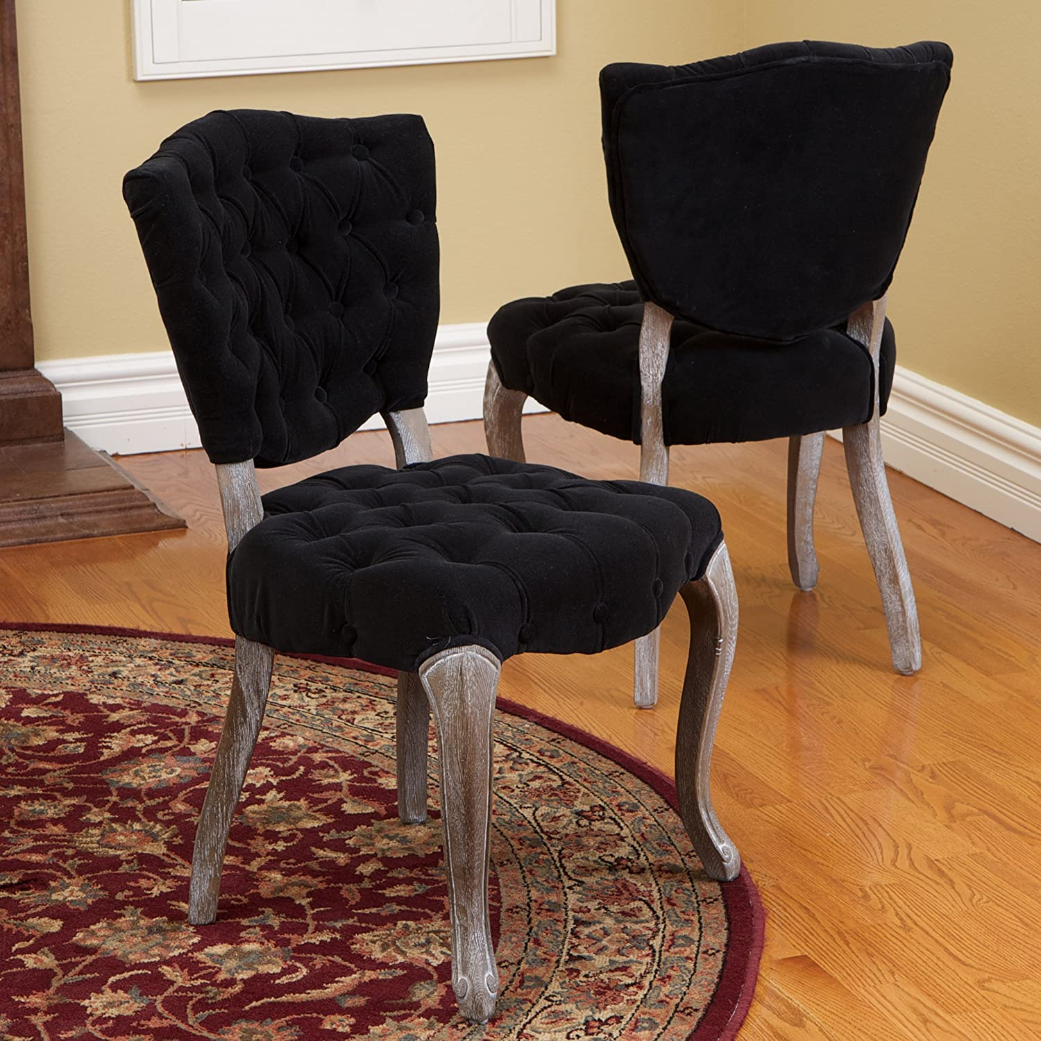 Amazon Violetta Tufted Black Fabric Dining Chairs Set of 2
