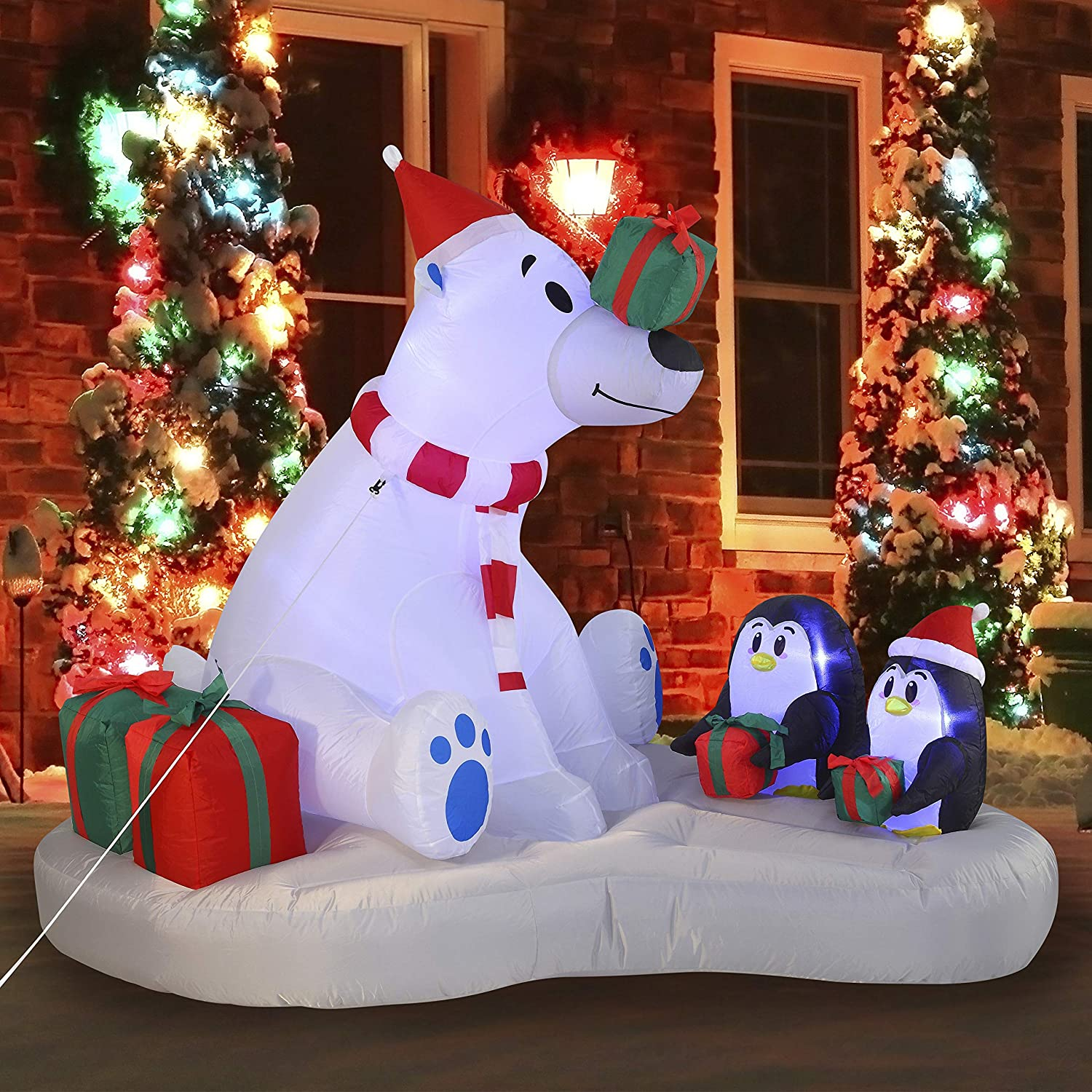 Joiedomi Christmas Polar Bear Giveaway Gifts Inflatable 6 ft with Build-in LEDs Blow Up Inflatables for Christmas Party Indoor, Outdoor, Yard, Garden, Lawn Décor, Holiday Season Decorations