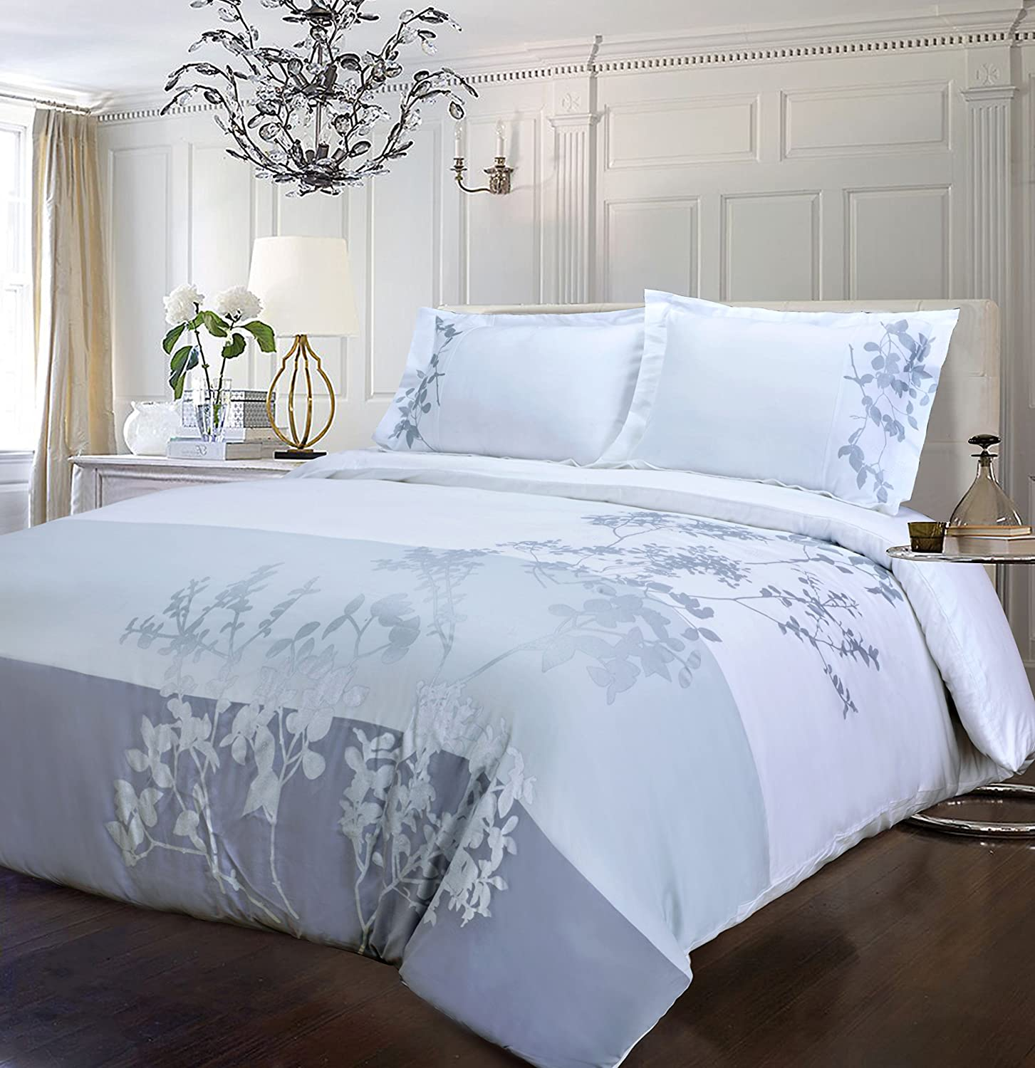 Sydney Full Queen 100% Cotton, 3-Piece Full Queen Single Ply, Soft, Embroidered Elmwood Duvet Cover Set