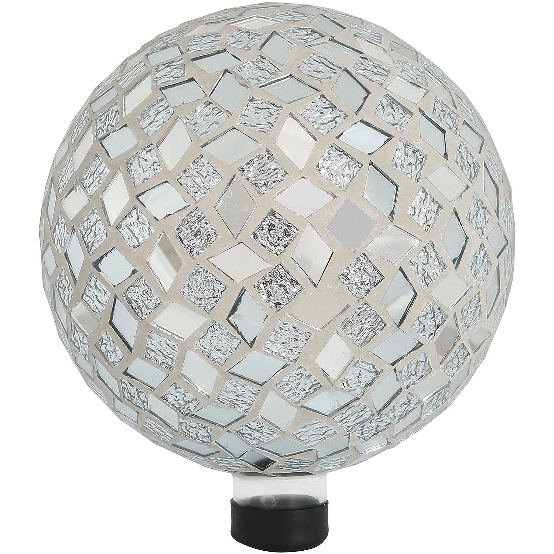 Sunnydaze Mirrored Diamond Mosaic Gazing Globe Glass Garden Ball, Outdoor Lawn and Yard Ornament, 10-Inch