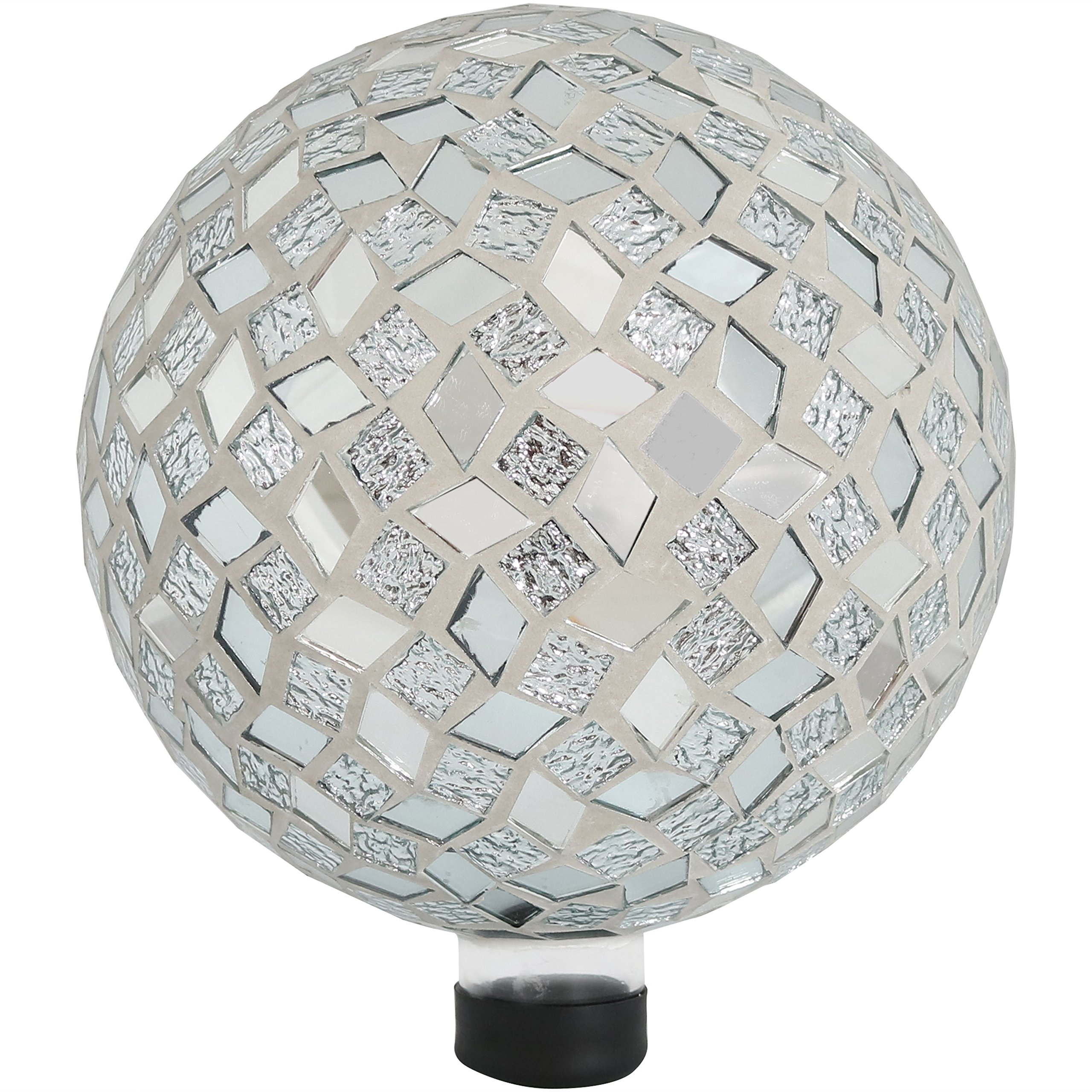 Sunnydaze Mirrored Diamond Mosaic Gazing Globe Glass Garden Ball, Outdoor Lawn Yard Ornament, 10-inch