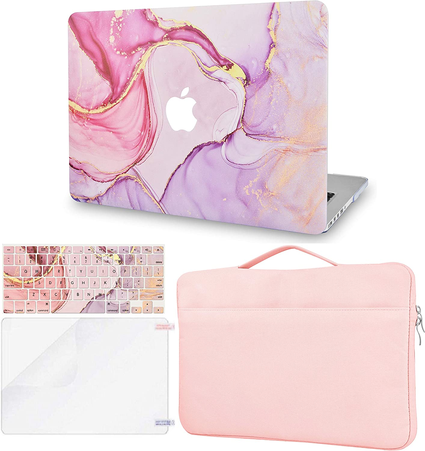 LuvCase 4 in 1 Laptop Case Compatible with MacBookAir 13 Inch (2010-2017) A1466/A1369 (No Touch ID) HardShellCover, Sleeve Bag, Keyboard Cover & Screen Protector (Rose Lavender Marble)