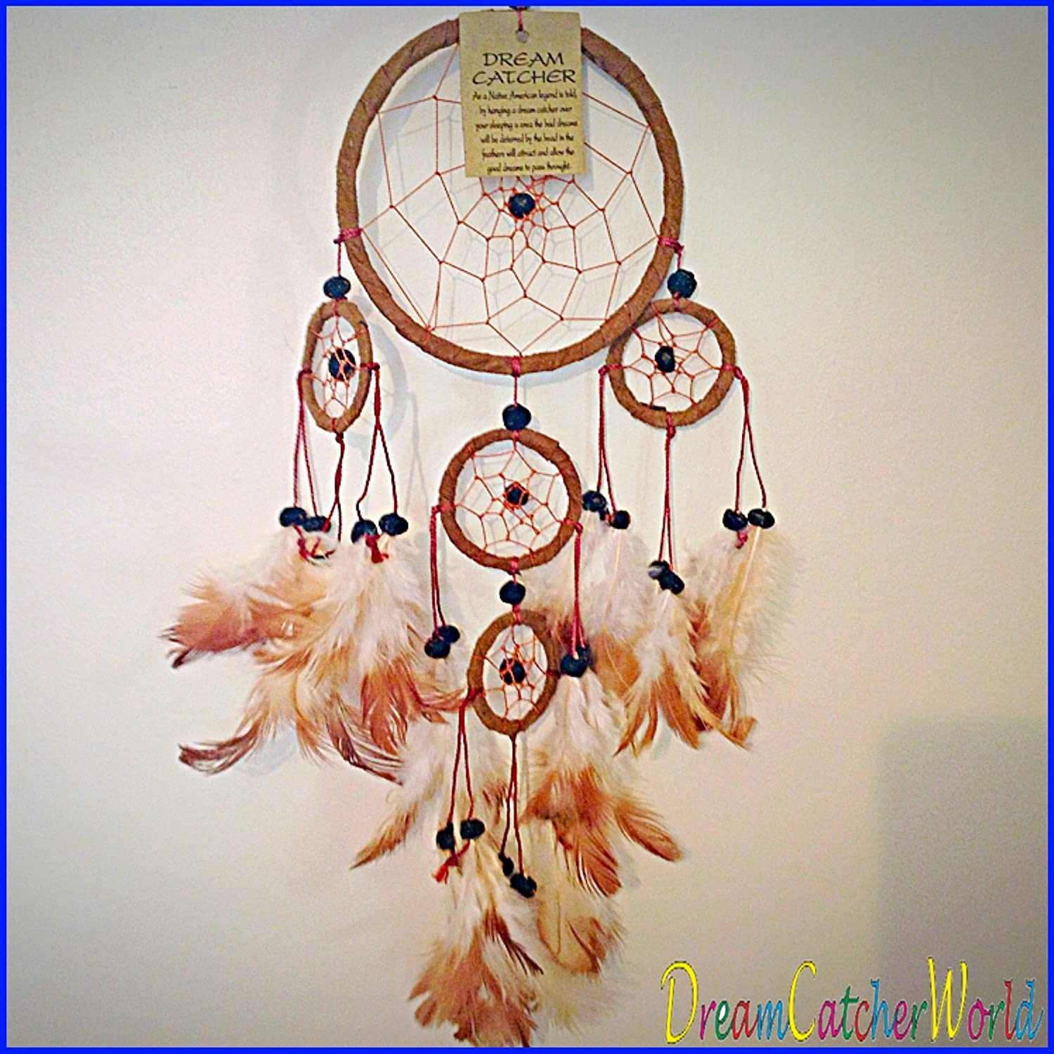 BLACK WHITE BROWN LEATHER SUEDE DREAM CATCHERS KIDS ROOM HANGING DECOR ALL HANDMADE (Brown) TPGSUK