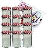 12er Set Sturzglas 435 ml Marmeladenglas Einmachglas Einweckglas To 82 rot karierter Deckel incl. Diamant-Zucker Gelierzauber Rezeptheft