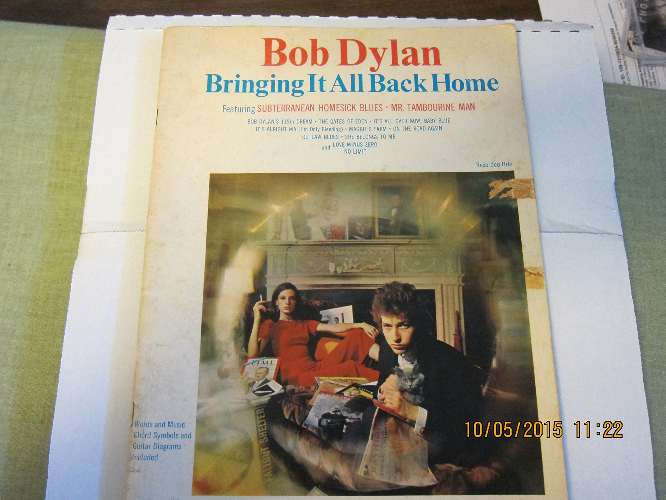 Bringing It All Back Home Songbook Bob Dylan Jerry Sears Piano