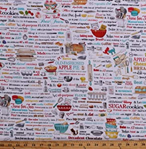 Cotton Kitchen Baking Bakers Recipe Book Food Pastry Chef Bakery Cooking Kiss The Cook Cotton Fabric Print by The Yard (D765.34)