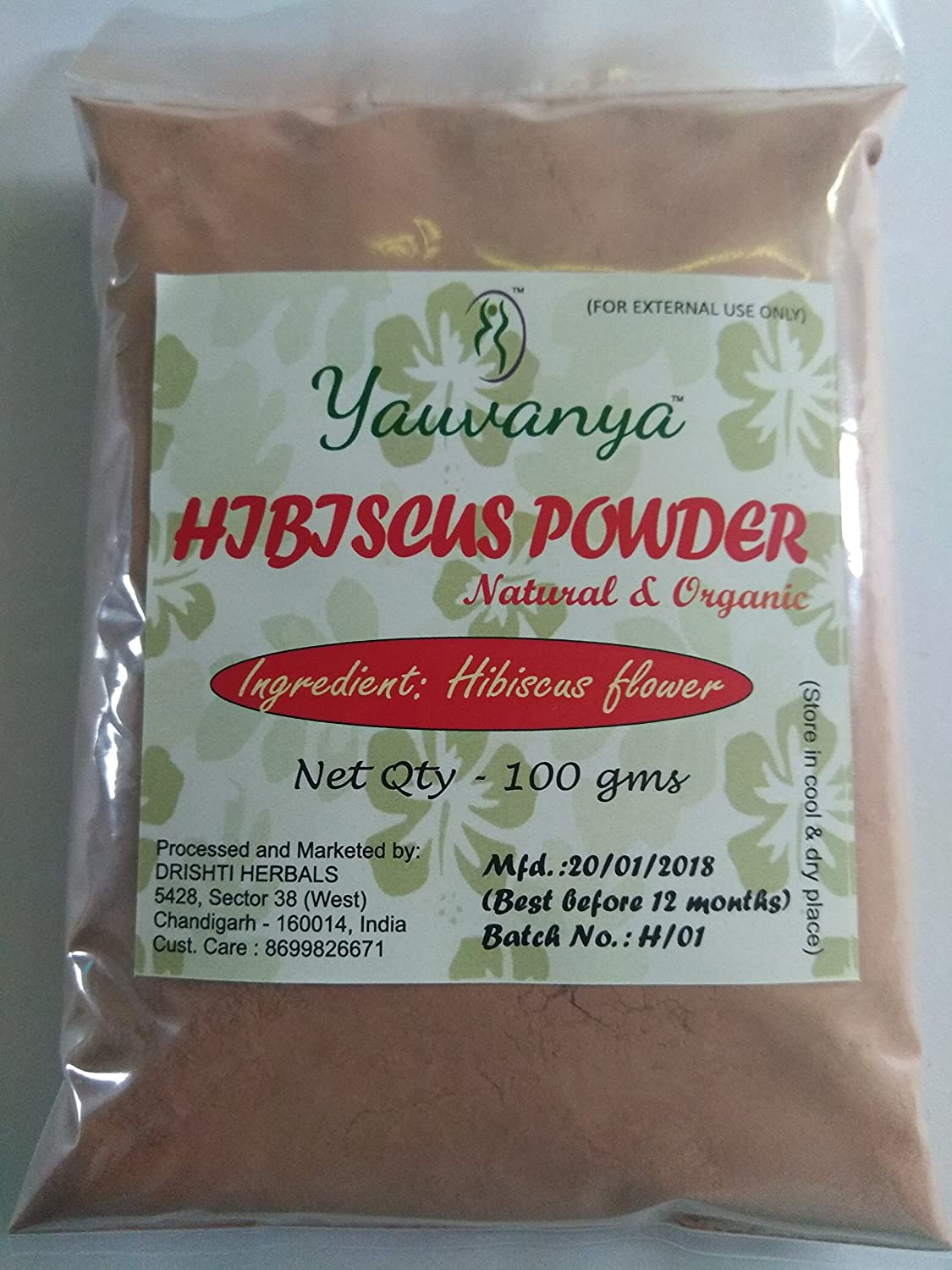 Yauvanya Pure Hibiscus Powder for Hair and Skin- 100 Gms Drishti Herbals