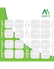 Med-Fit tens pads 16 electrodos 4 packs. El electrodo autoadhesivo extra duradero de la más alta calidad 5cm x 5cm 2 x 2 Med-Fit Electrodes utiliza un gel patentado para una larga vida útil.