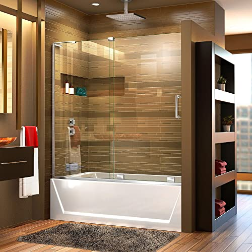 DreamLine Mirage-X 56-60 in. W x 58 in. H Frameless Sliding Tub Door in Chrome Left Wall Installation, SHDR-1960580L-01