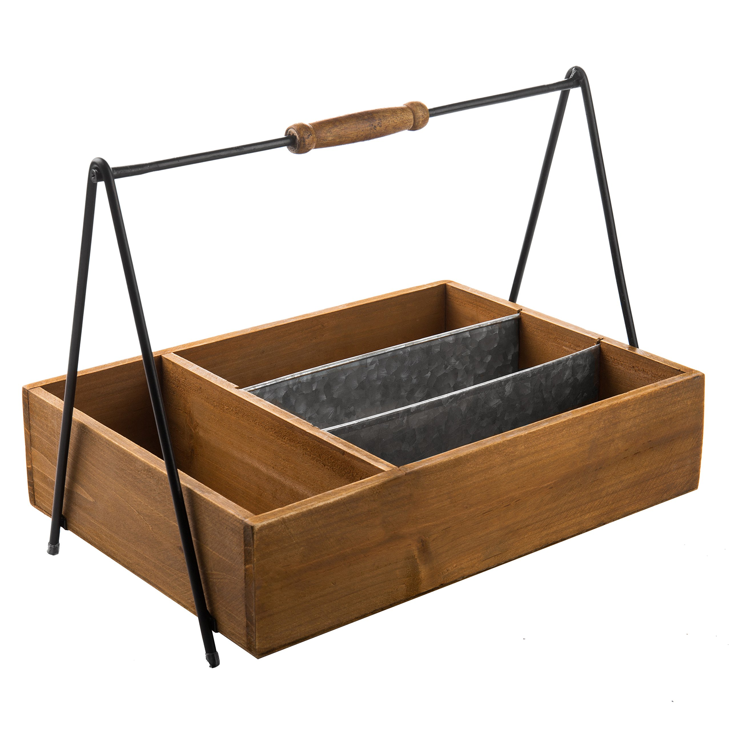 MyGift Rustic Wooden Utensil Caddy with Toolbox-Style Handle