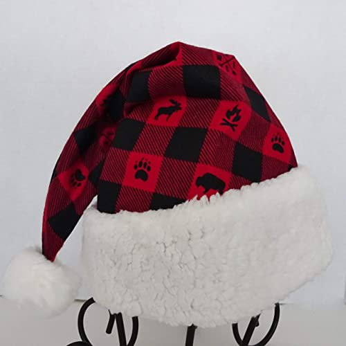 747bc1edf81 Amazon.com  Red Black Buffalo Check Camping Santa Hat