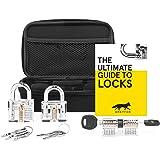 "GREYFOX Transparent Cutaway Lock Decoration/Play Set Kit. With Clear Padlock, Blade Lock, Cylinder Lock & Sleek ""Spy Practice Play"" Storage Case. Unique Christmas/Birthday Gift Idea For Men."
