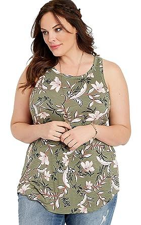 e2ec8227d8 maurices Women's Plus Size 24/7 High Neck Floral Tank 0 Olive Cloud Combo