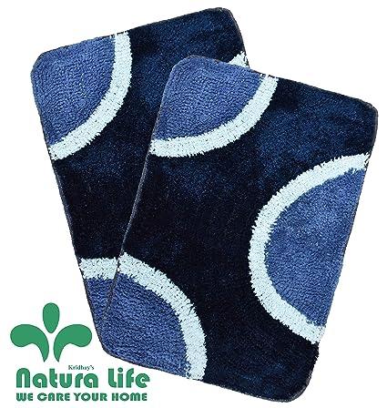 Natura Living Microfiber Kridhay Soft Bath Mat Set (40 X 60 cm, Blue)-Pack of 2 Pieces