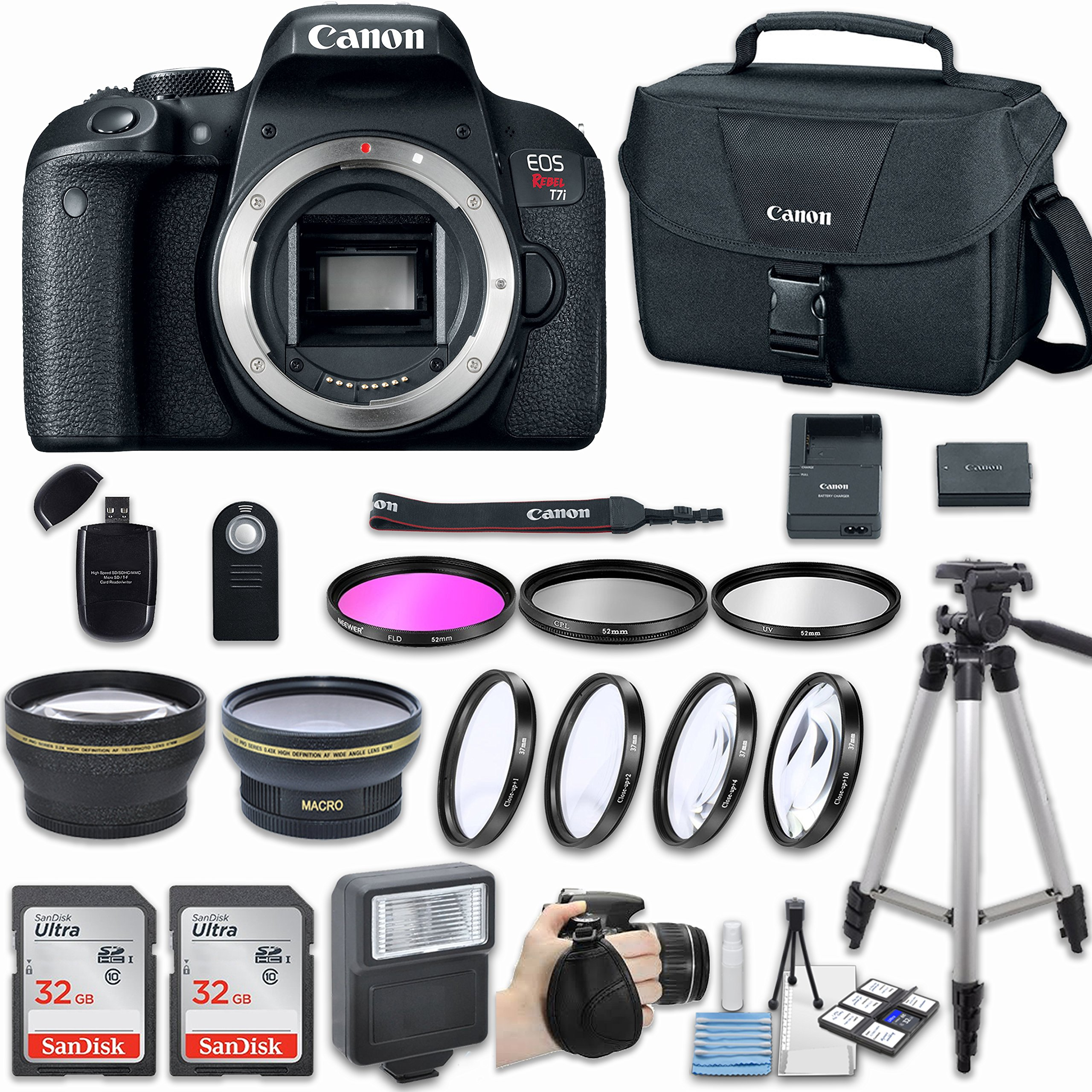 Canon EOS Rebel T7i DSLR Camera (Body Only) with Bundle - Includes 58mm HD Wide Angle Lens + 2.2x Telephoto + 2Pcs 32GB Sandisk SD Memory + Filter & Macro Kit & More Accessories by Canon