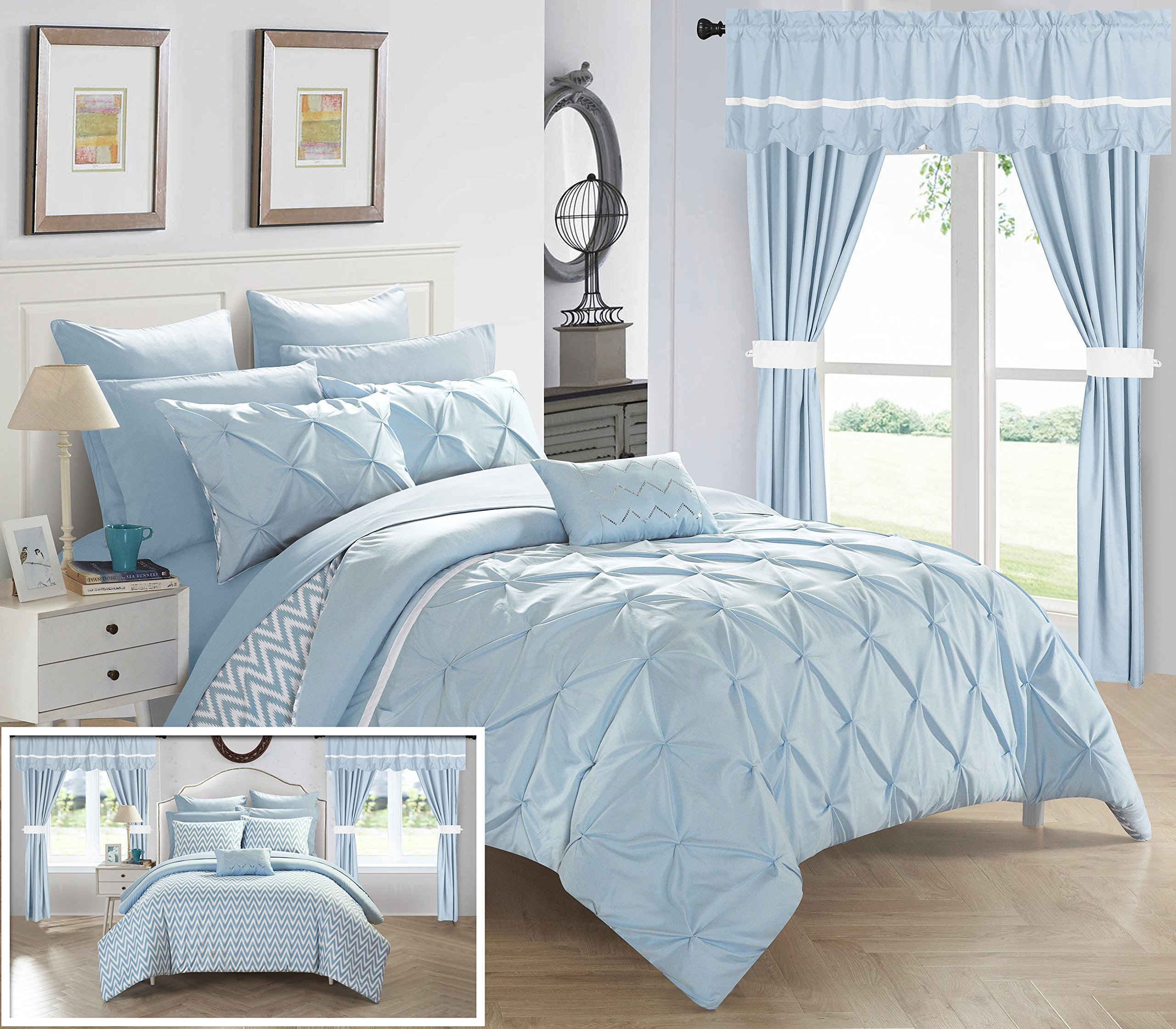 Chic Home CS0589-AN 20 Piece Jacksonville Complete Bed Room In A Bag Super Pinch Pleated Design Reversible Chevron Pattern Comforter Set, Sheet, Window Treatments And Decorative Pillows, Queen, Blue