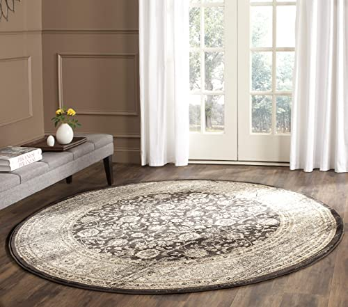 Safavieh Vintage Collection VTG571F Transitional Oriental Black and Ivory Distressed Round Area Rug 6 7 Diameter