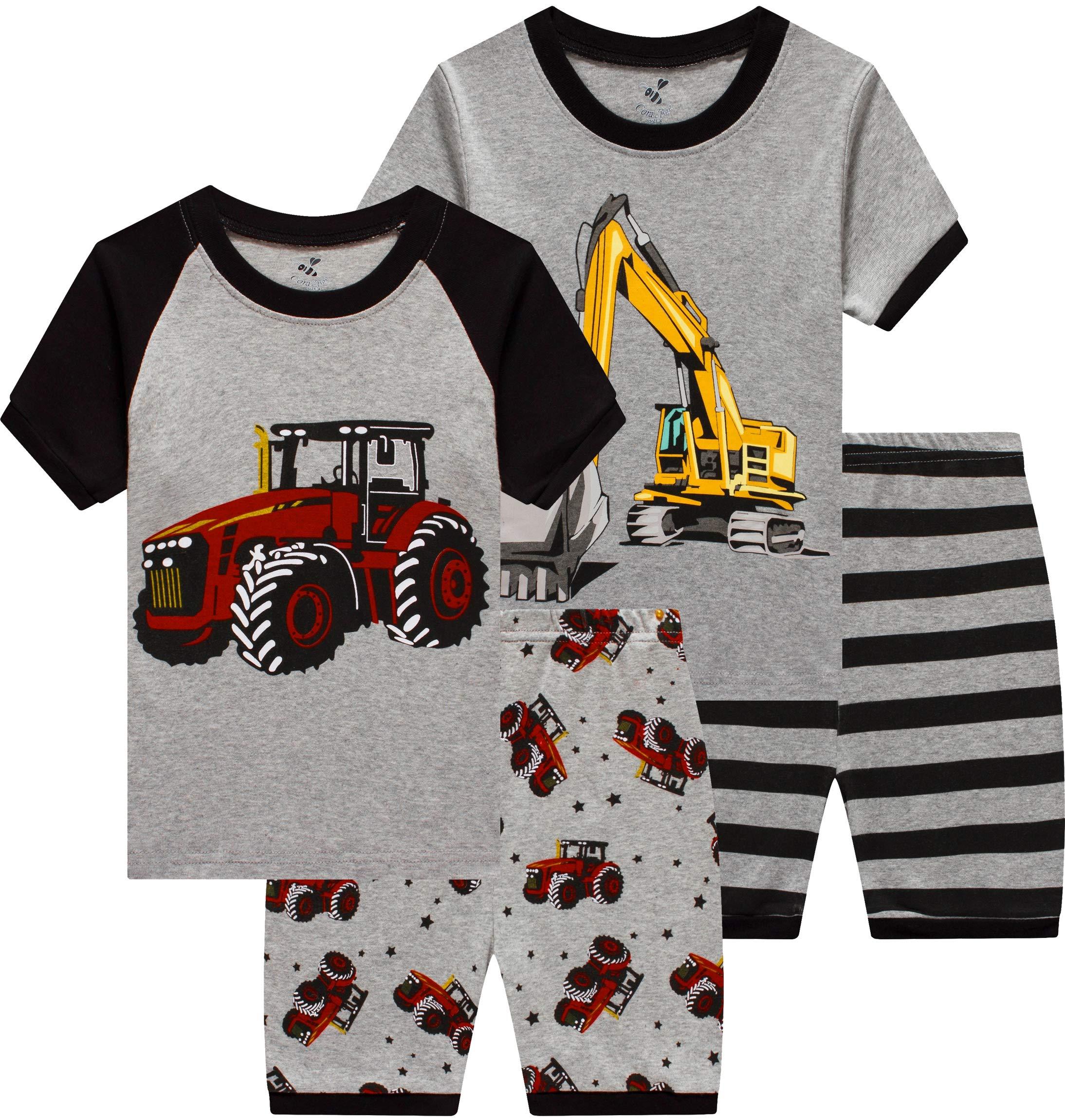 Boys Monster Truck Pajamas 4 Pieces Baby Clothes Summer Kids Bigfoot Car Short PJs Set 7t