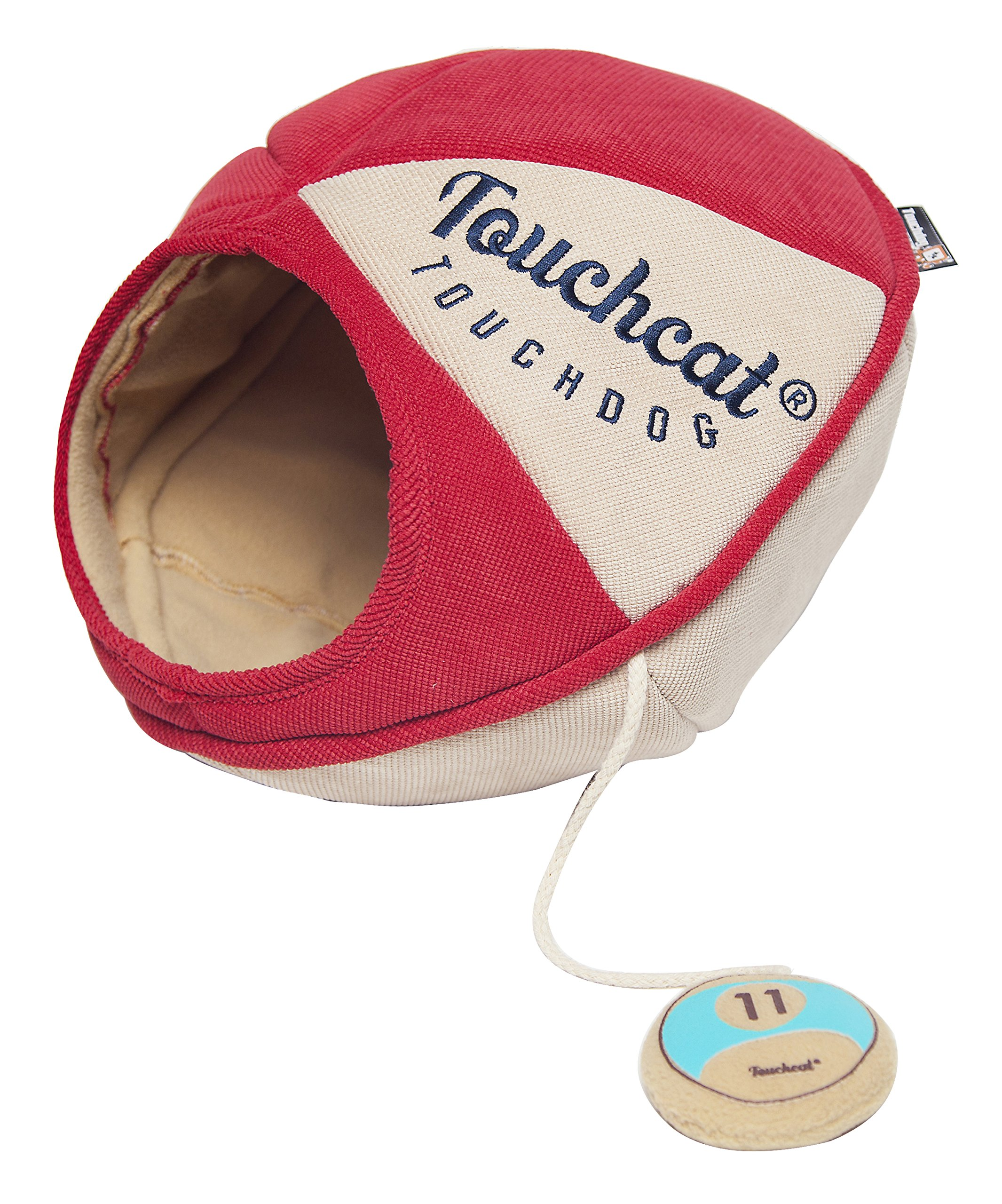 Touchcat 'Oval Saucer' Collapsible Walk-Through Kitty Pet Cat Bed House w/Play Active Teaser Toy, Large, Red