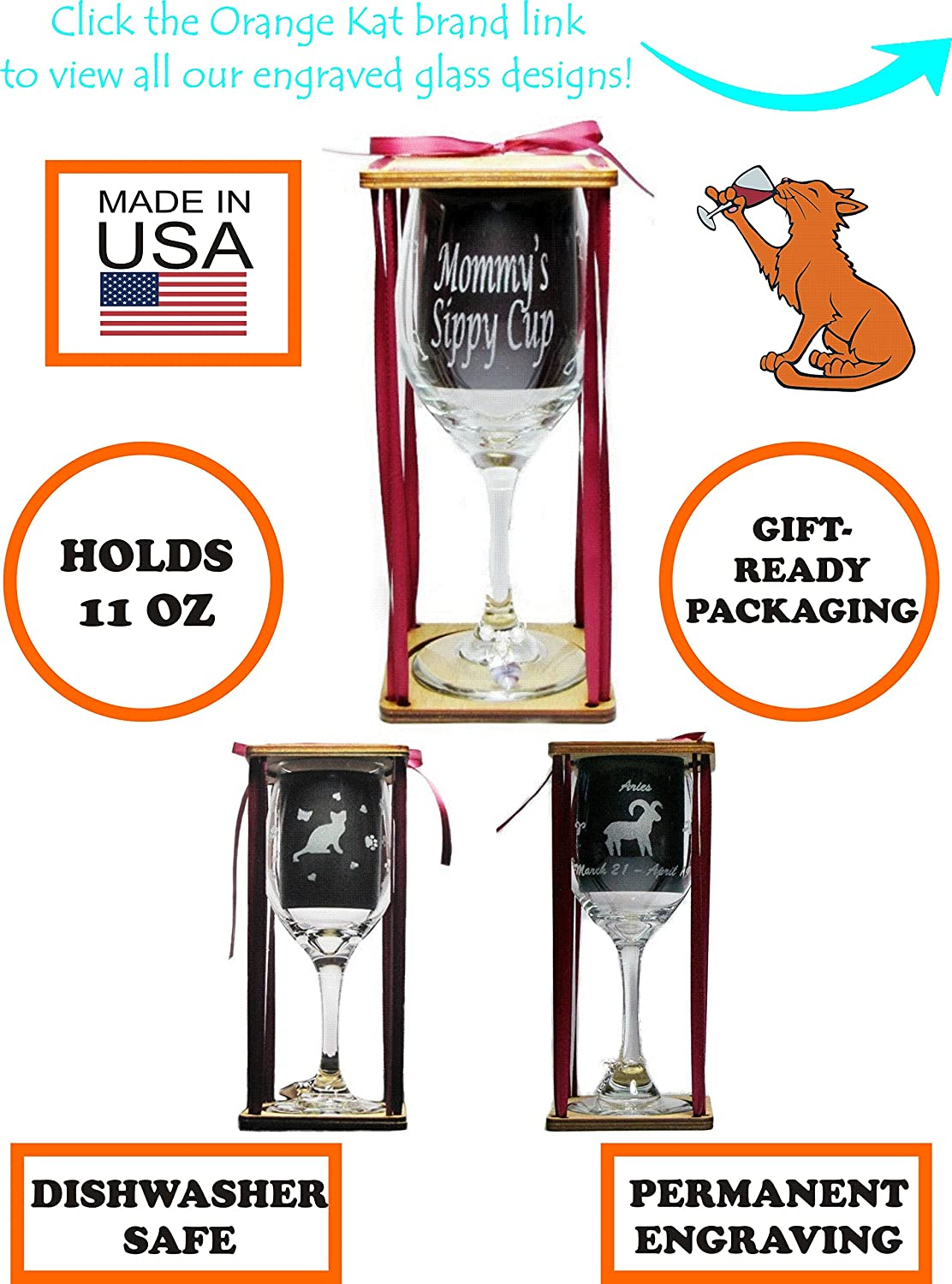 Mischief Managed Stemmed Wine Glass with Charm and Presentation Packaging Orange Kat WG-SSP