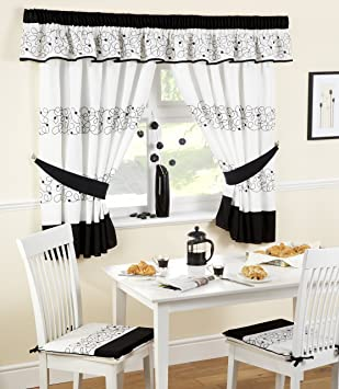 DECO KITCHEN CURTAINS BLACK/WHITE 46X48 INC TIE BACKS: Amazon.co ...