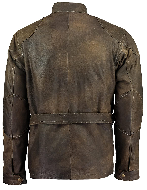 Gallanto Olive Green Benjamin Button Biker Mens Leather Jacket Motorcycle Armoured Vintage