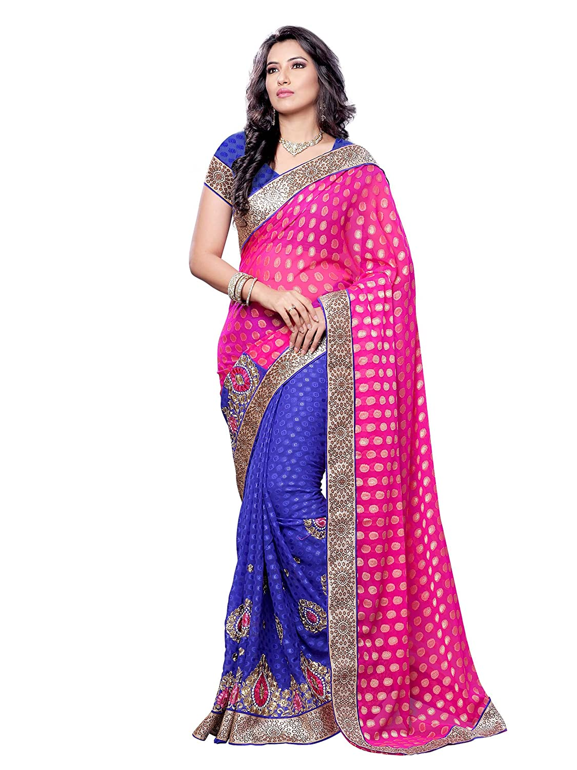 Best Synthetic Saree with Blouse Piece For Party Wear