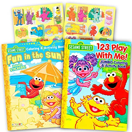 Amazon.com: Sesame Street Elmo Coloring Book Set with Stickers (2 ...