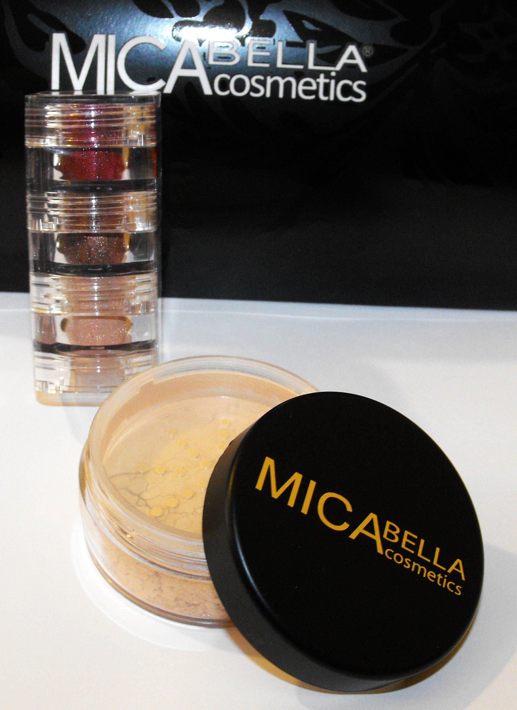 Mica Beauty Mineral Foundation Mf5 ''Cappuccino''+3stacks Shimmer''a-viva Green Eyes'' Shimmer Eye Shadow
