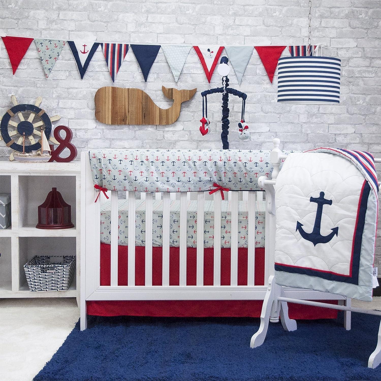 amazoncom  pam grace creations  piece anchors away crib set  - amazoncom  pam grace creations  piece anchors away crib set bluered baby