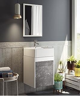 Mueble para baño aseo con espejo y lavabo ceramico incluido, en color blanco y pizarra