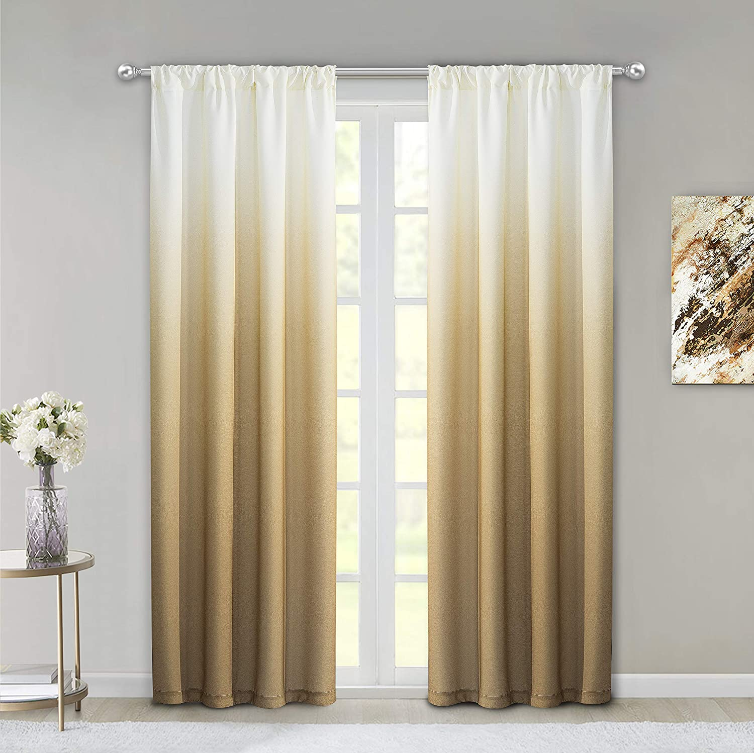 "Dainty Home Ombre Woven Shades of Color Rod Pocket Curtain Panel Pair Complete Set of 2, 40"" wide x 84"" long each, Gradient White to Golden"