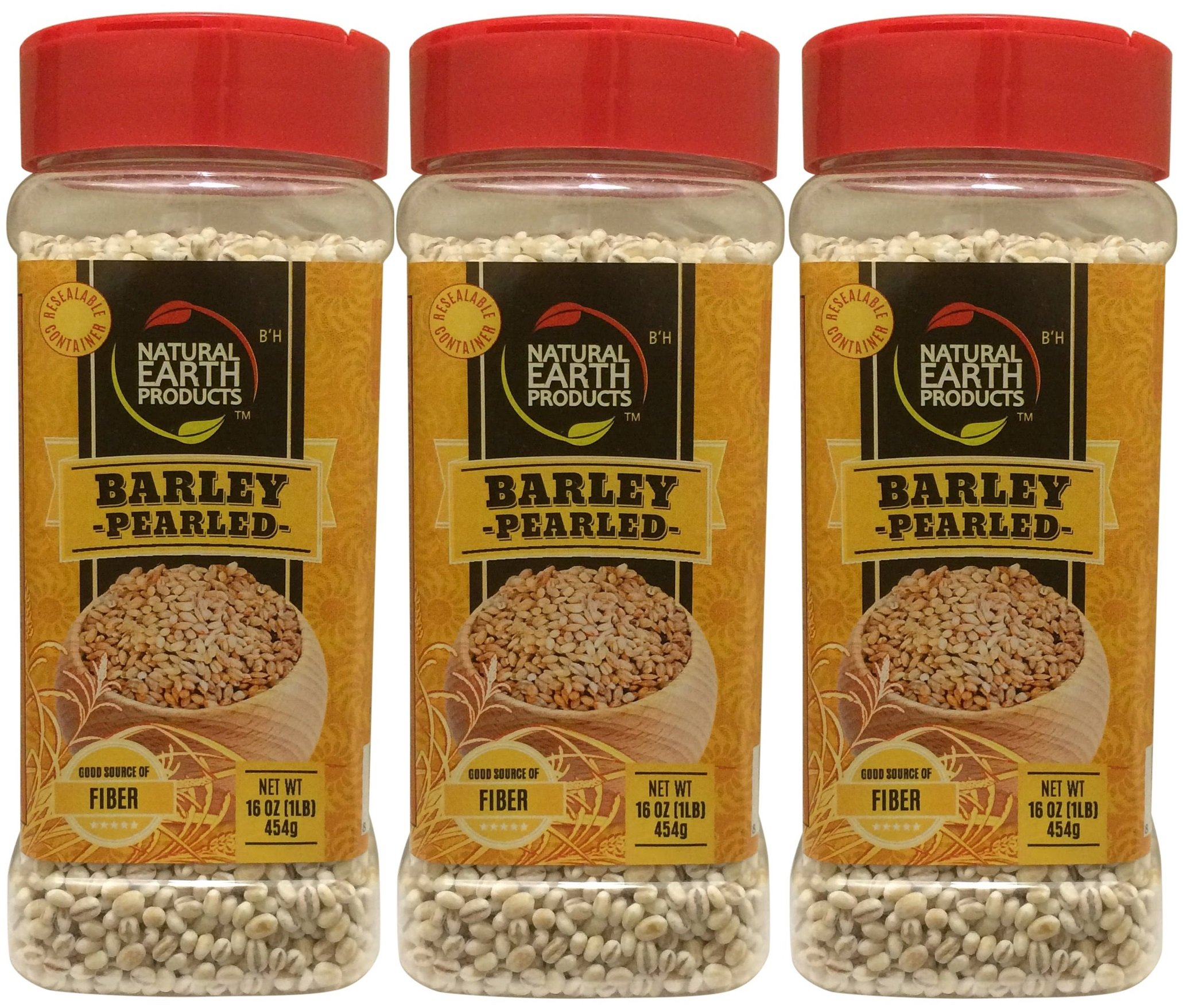Natural Earth Barley Pearled - Certified Kosher- Good Source Of Fiber - Resealable Container - 16 Oz (Pack of 3)