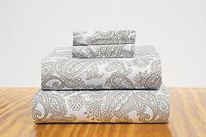 S&L Home Fashion Felicia 4 Piece Sheet Set (King, Taupe)