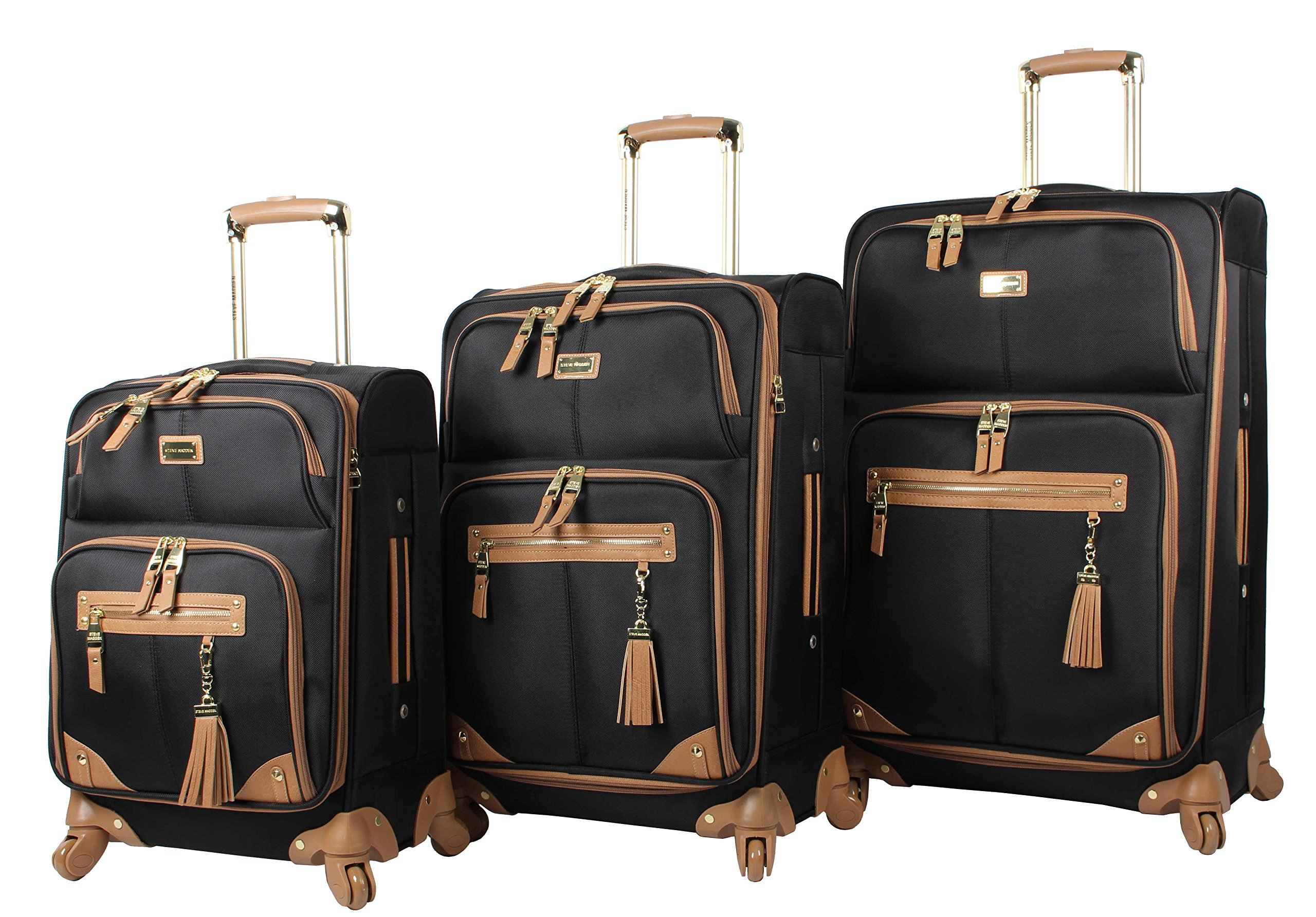 Steve Madden Luggage 3 Piece Softside Spinner Suitcase Set Collection (One Size, Harlo Black) by Steve Madden Luggage