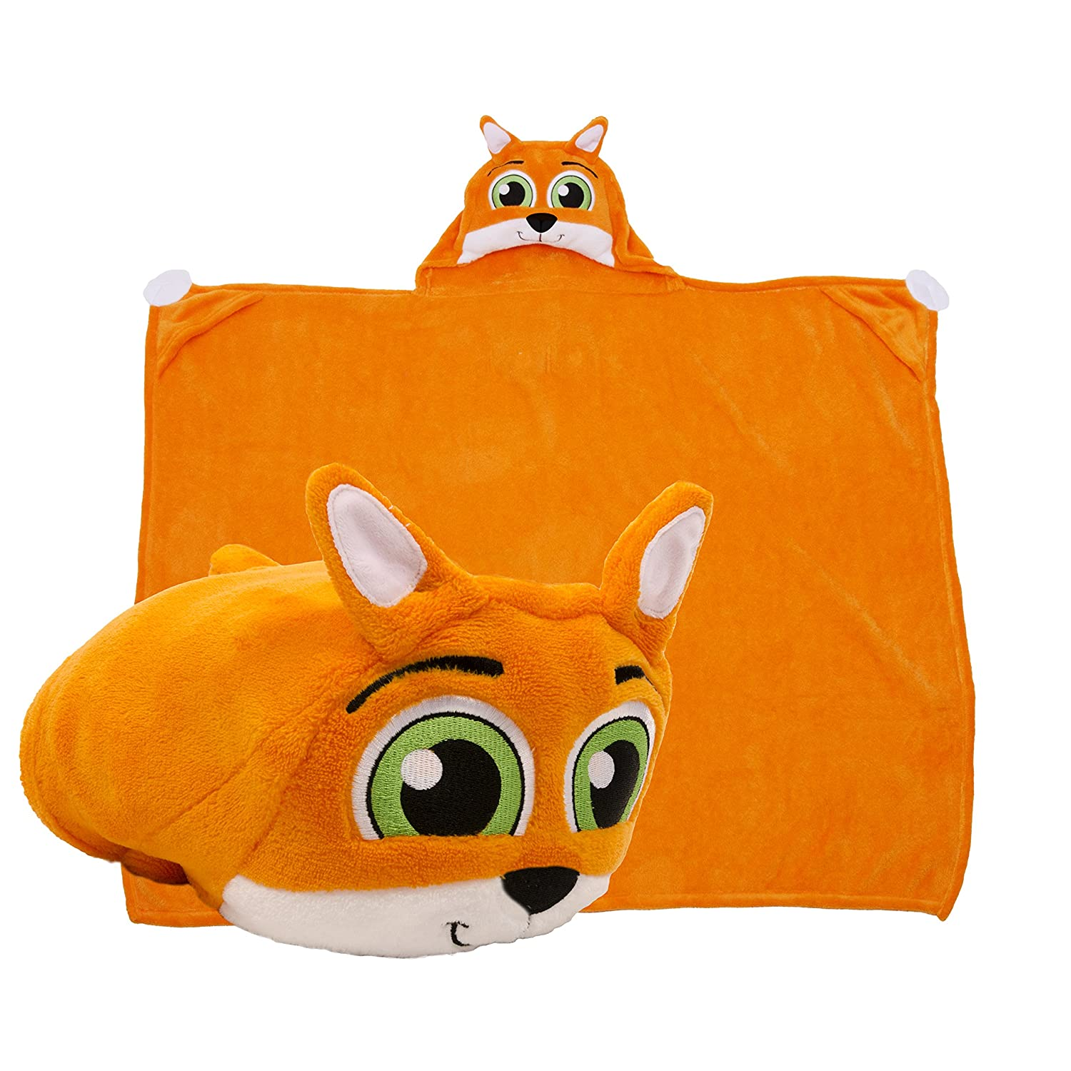 CDM product Comfy Critters Stuffed Animal Blanket Kids Huggable Pillow and Blanket Perfect for Pretend Play, Travel, Nap time. (Fox) big image