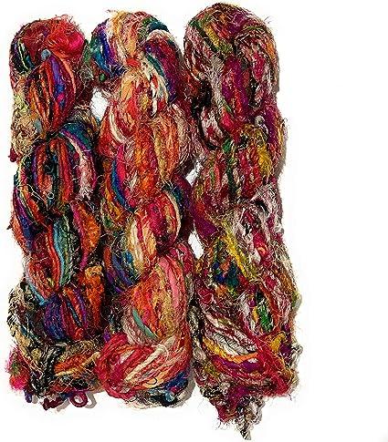 100g Sari Silk Ribbon craft ribbon yarn jewelry making Hot Orange