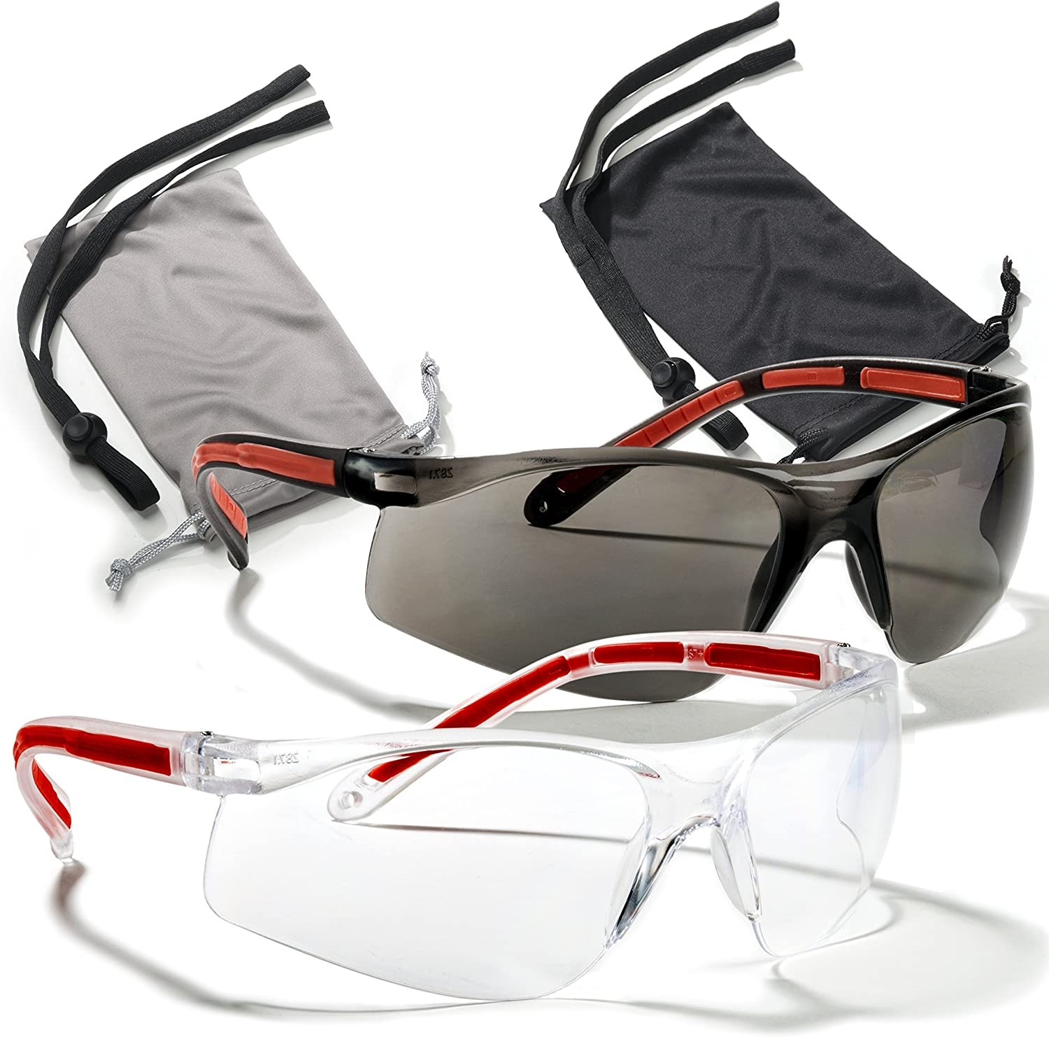 Safety Glasses Eye Protection - Comfort Eyewear - 2 Pair, 2 Neck Cords, 2 Cases - SuperLite and SuperClear Lens Technology, Z87.1 - CE 166 Certified…: Clothing