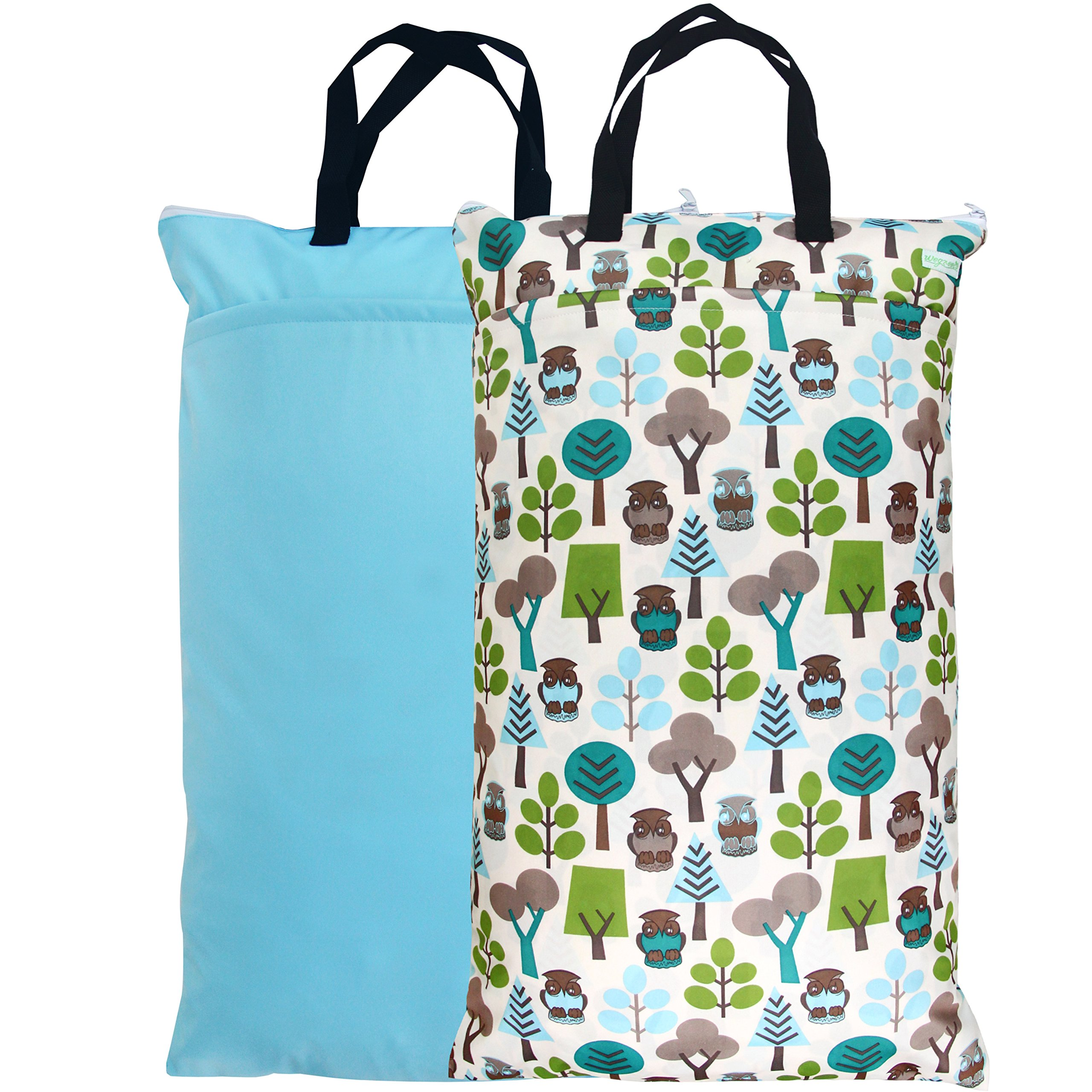 Wegreeco Reusable Hanging Wet Dry Cloth Diaper Bag(2 Pack,Blue Sky,Owl)