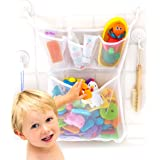 "Bath Toy Organizer -The Original Tub Cubby - Large 14x20"" Quick Dry Bathtub Mesh Net - Massive Baby Toy Storage Bin + 3 Soap Pockets - 2X Locking Suction Cups - 4- Sticker Hooks"