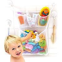 "Bath Toy Organizer -The Original Tub Cubby - Large 14x20"" Quick Dry Bathtub Mesh Net - Massive Baby Toy Storage Bin + 3 Soap Pockets - 2X Locking Suction Cups - 4- Sticker Hooks"