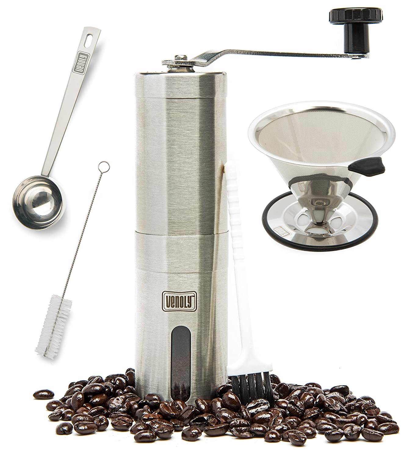 Venoly Conical Burr Coffee Grinder Stainless Steel Hand Crank Travel Coffee Grinder Set with Pour Over Coffee Dripper Brewed Coffee Maker