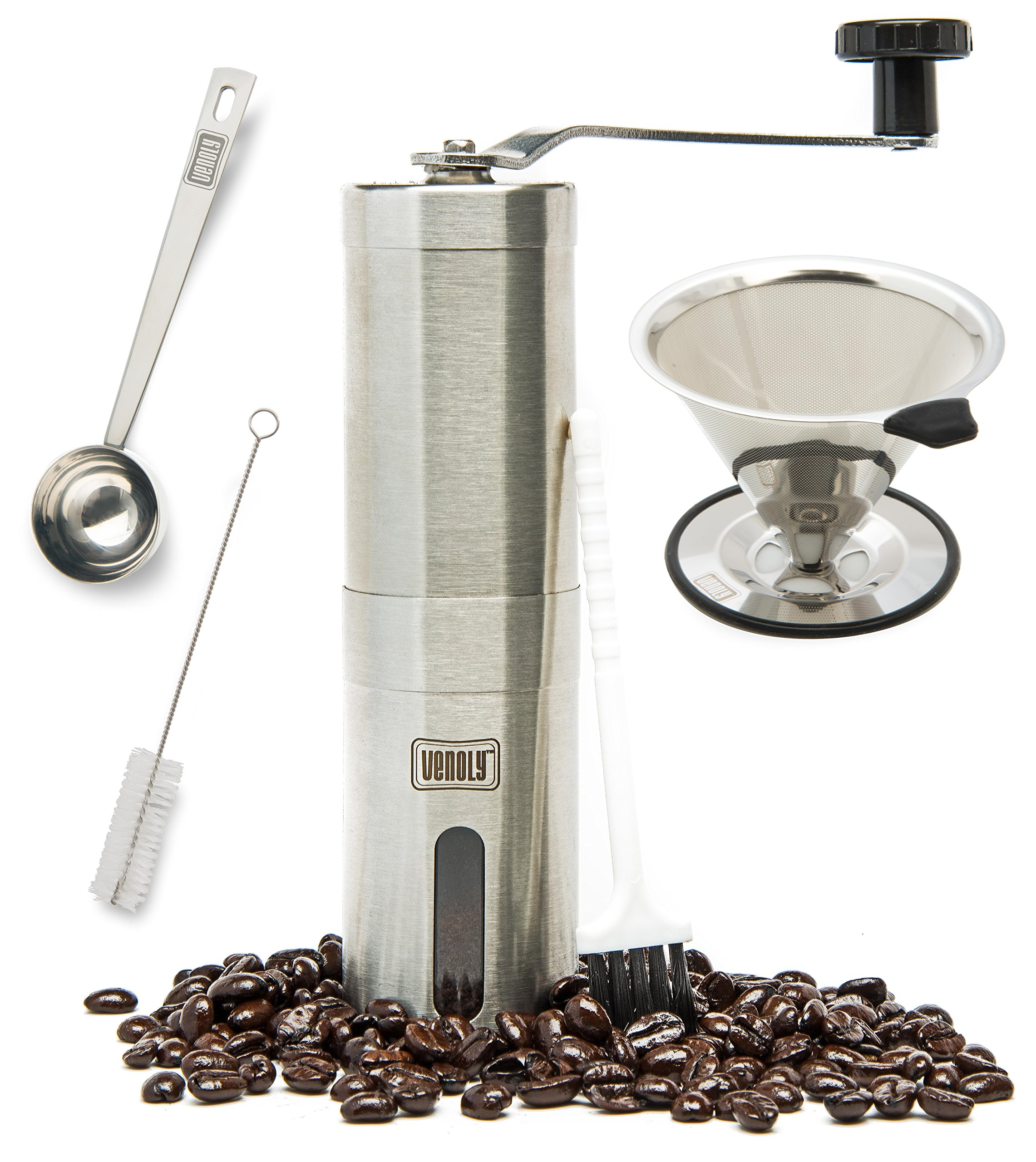Venoly Conical Burr Coffee Grinder Stainless Steel Hand Crank Travel Coffee Grinder Set with Pour Over Coffee Dripper Brewed Coffee Maker by Venoly