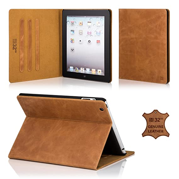 info for 09cab 2fae0 32nd Premium Leather Folio Case for Apple iPad Pro 9.7 inch (2016), with  Built-in Stand - Tan