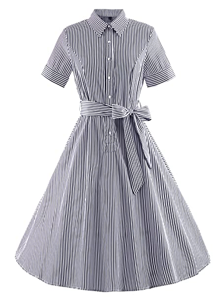 ilover Classic 50s Rockabilly Back V Vintage Style Strip Swing Dress Plus Size: Amazon.es: Ropa y accesorios