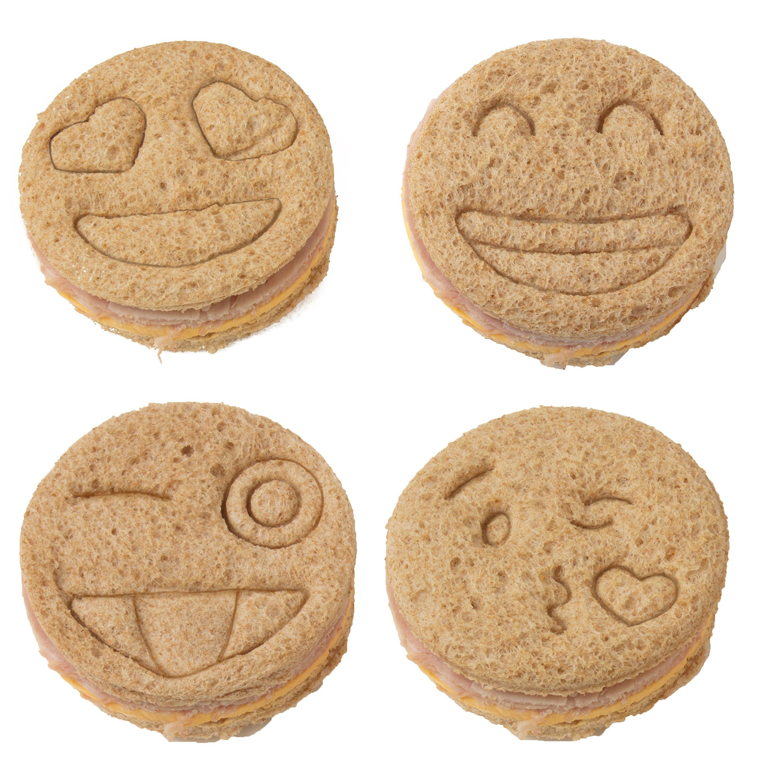 Emoji Sandwich Cutters - 4 pk - Fun Bread & Cookie Cutters with Cute Emoji Designs