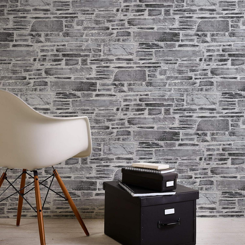 = 5,33 m/² Rouleau Cr/éation Il Decoro Gris//Noir//Anthracite 10,05 x 0,53 m Papier peint brique pierre imitation Tapisserie 364591 36459-1 A.S