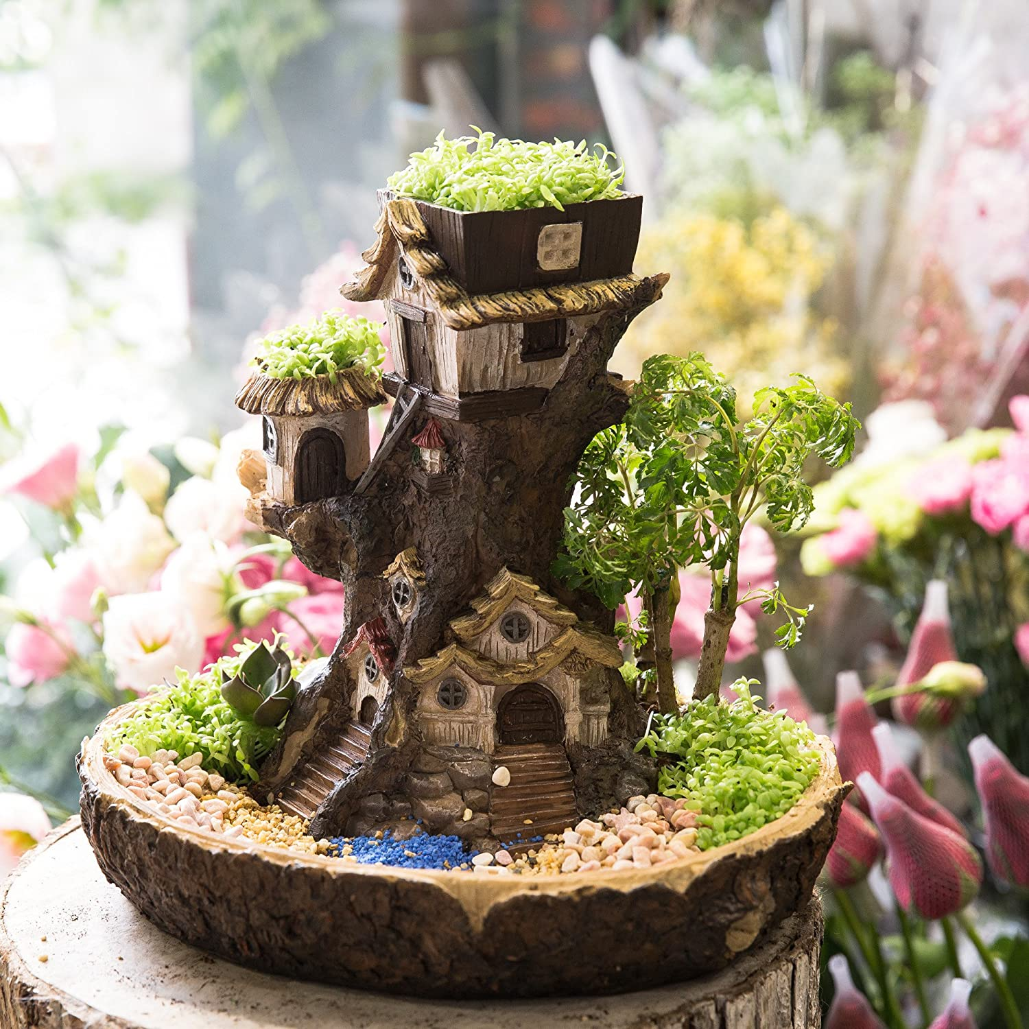 VOSAREA Fairy Garden Planter House Resin Fairy Forest Mulit Layer Decroative Flower Pot with Sweet House for Succulents Cactus Small Flower