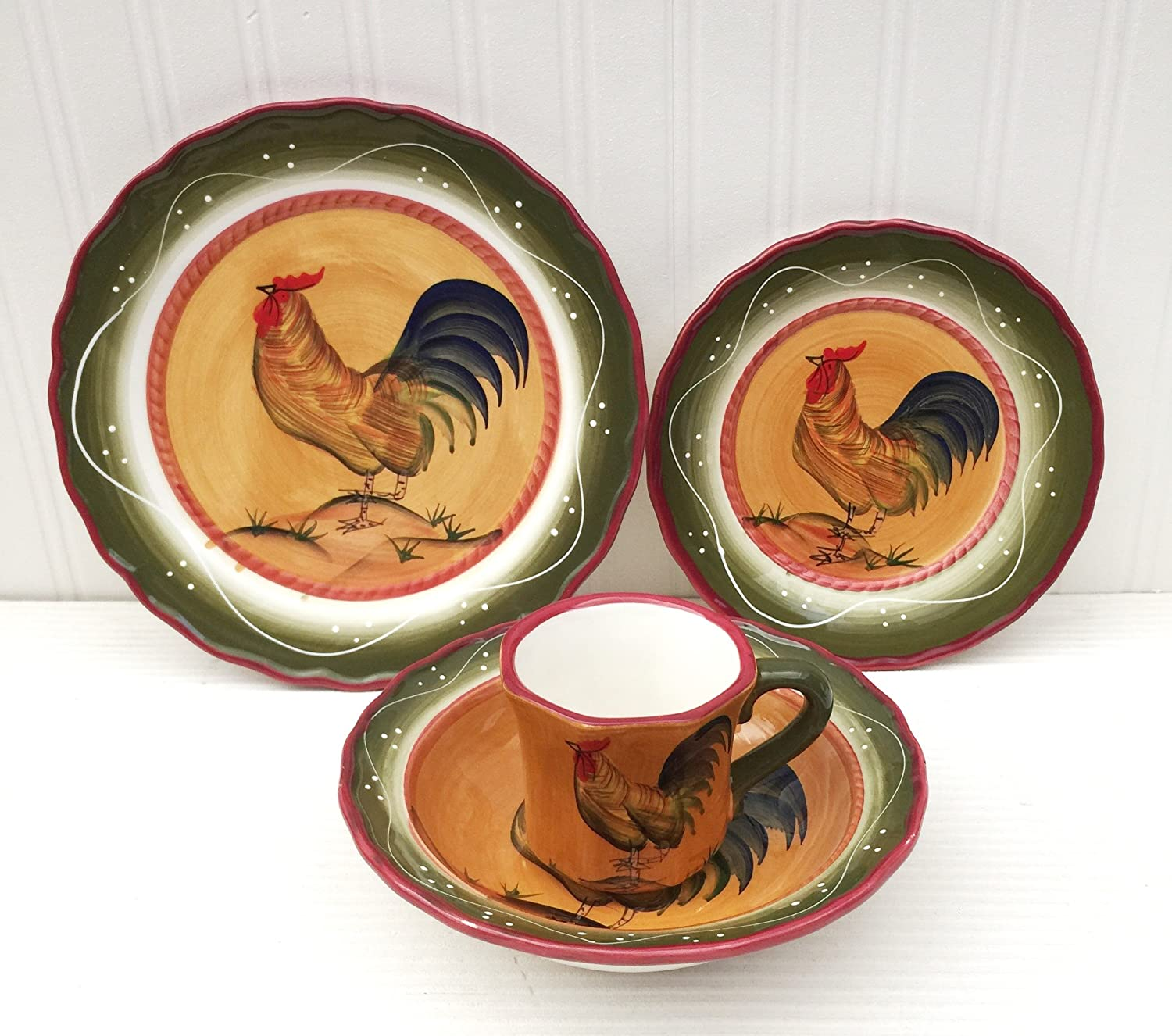 Amazon.com - Tuscan Sunshine Country Rooster Hand Painted collection ( DINNERWARE SET) - Kitchen Storage And Organization Product Sets  sc 1 st  Amazon.com & Amazon.com - Tuscan Sunshine Country Rooster Hand Painted collection ...